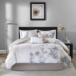 Madison Park Angela Watercolor Floral 7-Piece Cotton Comforter Set
