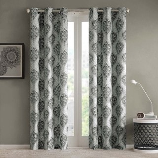Intelligent Design Sydney Damask Printed Grommet Top Window Panel Pair
