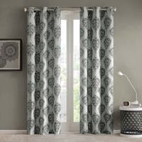 Intelligent Design Sydney Damask Printed Grommet Top Window Curtain Panel Pair