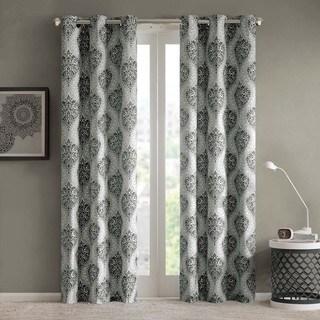 Intelligent Design Sydney Damask Printed Grommet Top Window Curtain Panel Pair