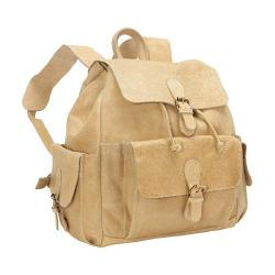David King Leather Tan Backpack w/ Flapper Pockets