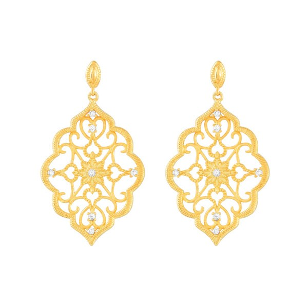 Kabella Goldplated Cubic Zirconia Lace Chandelier Earrings