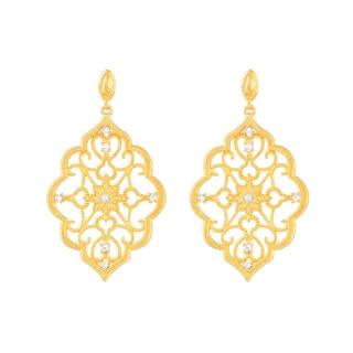 Kabella 18k Goldplated Cubic Zirconia Lace Chandelier Earrings