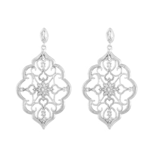 Kabella Sterling Silver Cubic Zirconia Lace Design Chandelier Earrings