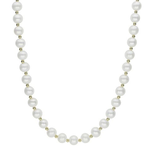 10k Yellow Gold White Freshwater Pearl and Gold Bead 18-inch Necklace (7-7.5 mm)