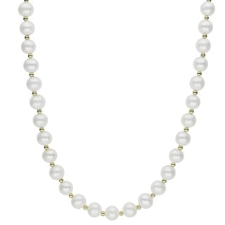 10k Yellow Gold White Freshwater Pearl And Gold Bead 18 Inch Necklace 7 7 5 Mm