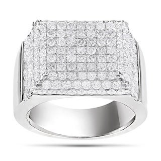 Luxurman 14k White Gold Men's 4 1/4ct TDW Diamond Ring (G-H, SI1-SI2)