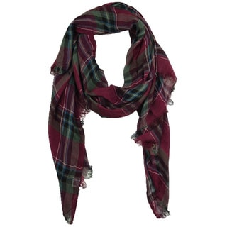 LA77 Women's Soft Frayed Plaid Scarf