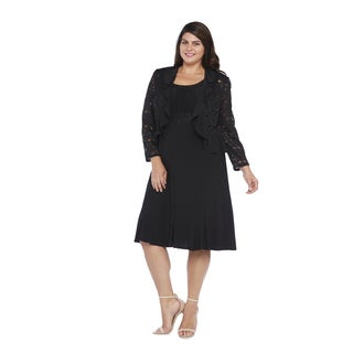 R&M Richards Plus Size Ruffle Jacket Dress