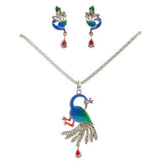 Handcrafted Brass Pendant & Earrings Set - Peacock and Cubic Zirconia (India)