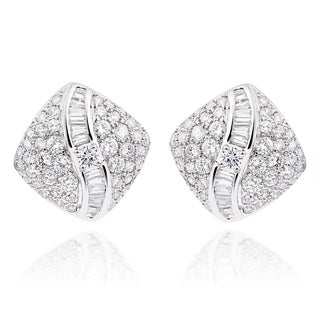 18k White Gold 4.5ct TDW Diamond Square Stud Earrings (F-G, VS1-VS2)