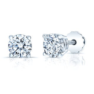 14k White Gold 1 4/5ct TDW Certified Round Diamond Stud Earrings