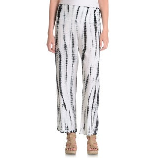 La Cera Women's Black/ White Tie Dye Crinkle Pants