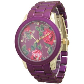 Olivia Pratt Women's Colored Metal Floral Watch