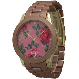 Olivia Pratt Women's Colored Metal Floral Watch