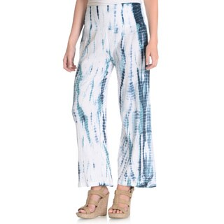La Cera Women's Blue/ White Tie Dye Crinkle Pants