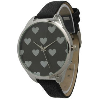 Olivia Pratt Women's Heart Print Leather Watch