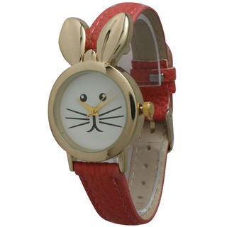 Olivia Pratt Women's Goldtone Leather Bunny Watch