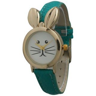 Olivia Pratt Women's Goldtone Leather Bunny Watch