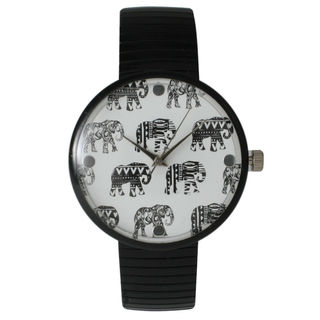 Olivia Pratt Women's Tribal Elephant Metal Stretch Watch