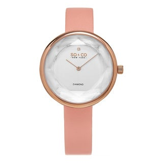 SO&CO New York Women's Quartz Diamond Satin Covered Leather Strap Watch