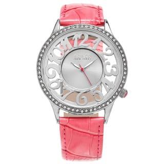 SO&CO New York Women's Quartz Austrian Crystal Leather Strap Watch (Option: Blue)|https://ak1.ostkcdn.com/images/products/10584232/P17659168.jpg?impolicy=medium