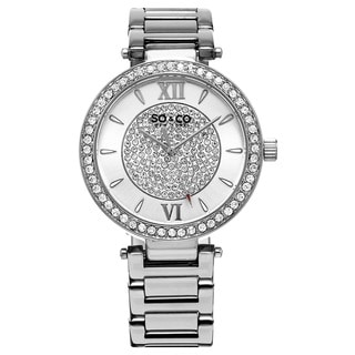 SO&CO New York Women's Quartz Austrian Crystal Stainless Steel Link Bracelet Watch