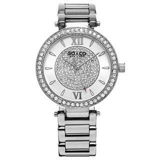 SO&CO New York Women's Quartz Austrian Crystal Stainless Steel Link Bracelet Watch