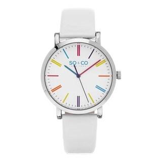 SO&CO New York Women's Quartz SoHo Colorful Dial White Leather Strap Watch