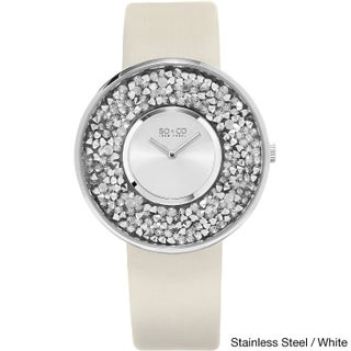 SO&CO New York Women's Quartz Austrian Crystal Leather Strap Watch (Option: Stainless steel / white)