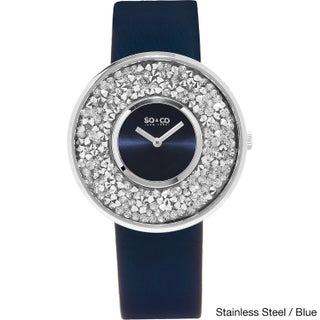 SO&CO New York Women's Quartz Austrian Crystal Leather Strap Watch (Option: Stainless steel / blue)
