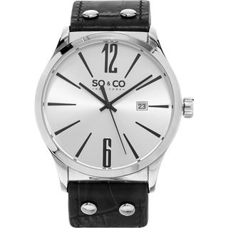 SO&CO New York Men's Quartz Madison Leather Strap Watch