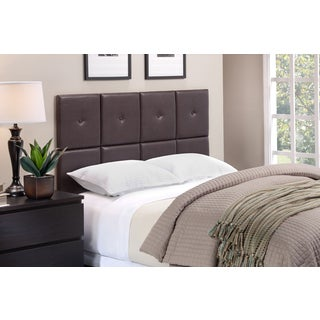 Porch & Den Elsmere Rigdon Tufted Espresso Faux Leather Headboard