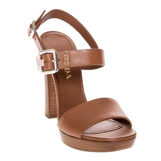 Prada Platform Brown Leather High Heel Sandals