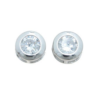 Sterling Silver High Polish Round-cut 3/4ct Cubic Zirconia Stud Earrings