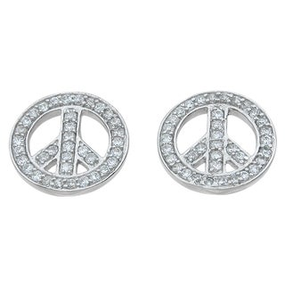 Sterling Silver High Polish Round-cut 1 1/3ct Cubic Zirconia Peace Sign Earrings