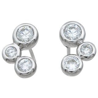 Sterling Silver High Polish Round-cut Cubic Zirconia 3-stone Earrings