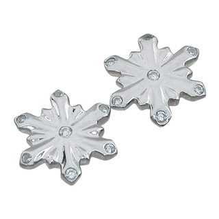 Sterling Silver High Polish Cubic Zirconia Snowflake Earrings