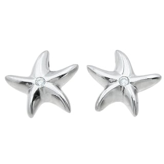 Sterling Silver High Polish Cubic Zirconia Starfish Earrings