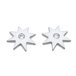 Sterling Silver High Polish Cubic Zirconia Star Earrings