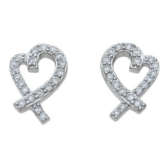 Sterling Silver High Polish Round-cut Cubic Zirconia Open Heart Earrings