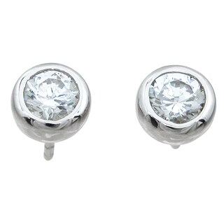Sterling Silver Round-cut 1 1/2ct Cubic Zirconia Stud Earrings