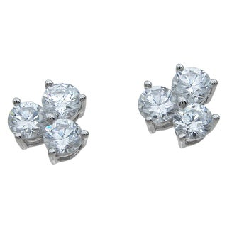 Sterling Silver Round-cut Cubic Zirconia 3-stone Earrings