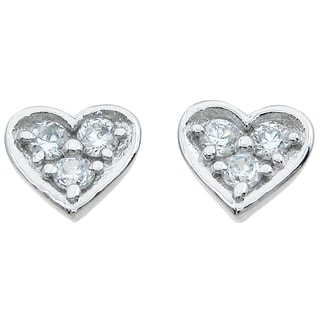 Sterling Silver Round-cut 3/4ct Cubic Zirconia Stud Heart Earrings