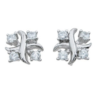 Sterling Silver Round-cut 3/4ct Cubic Zirconia XO Hugs and Kisses Stud Earrings