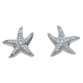 Sterling Silver Round-cut Cubic Zirconia Starfish Earrings