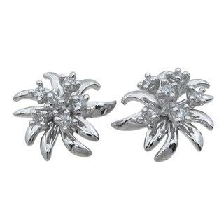 Sterling Silver Round-cut Cubic Zirconia Flower Earrings