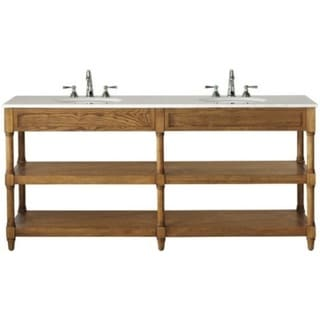 Montaigne Weathered Oak Finish Double Bathroom Vanity With Two Open Shelves And White Natural