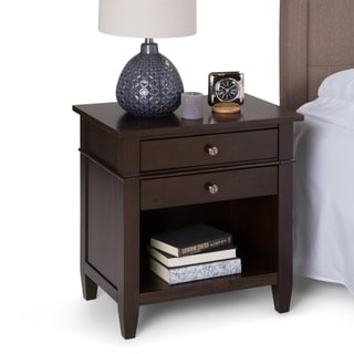 WYNDENHALL Sterling Solid Wood 24 inch Wide Contemporary Bedside Nightstand Table