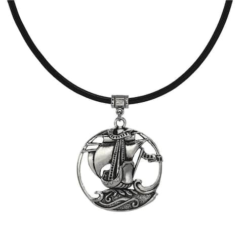 Handmade Jewelry by Dawn Unisex Large Pewter Sailing Ship Leather Cord Necklace (USA) - Black